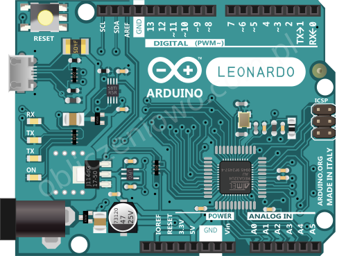 Arduino Leonardo - widok z góry
