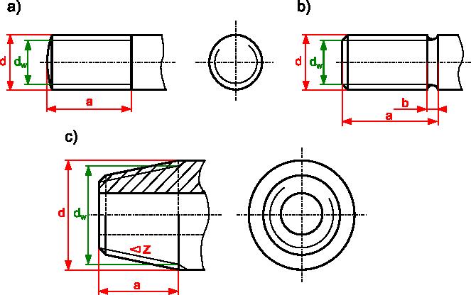 przykłady rysowania gwintów zewnętrznych