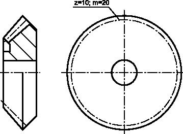 Rysunek uproszczony koła zębatego stożkowego.