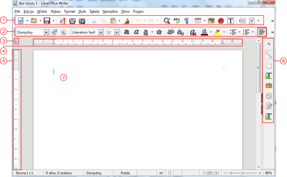 Widok okna programu Writter pakietu LibreOffice