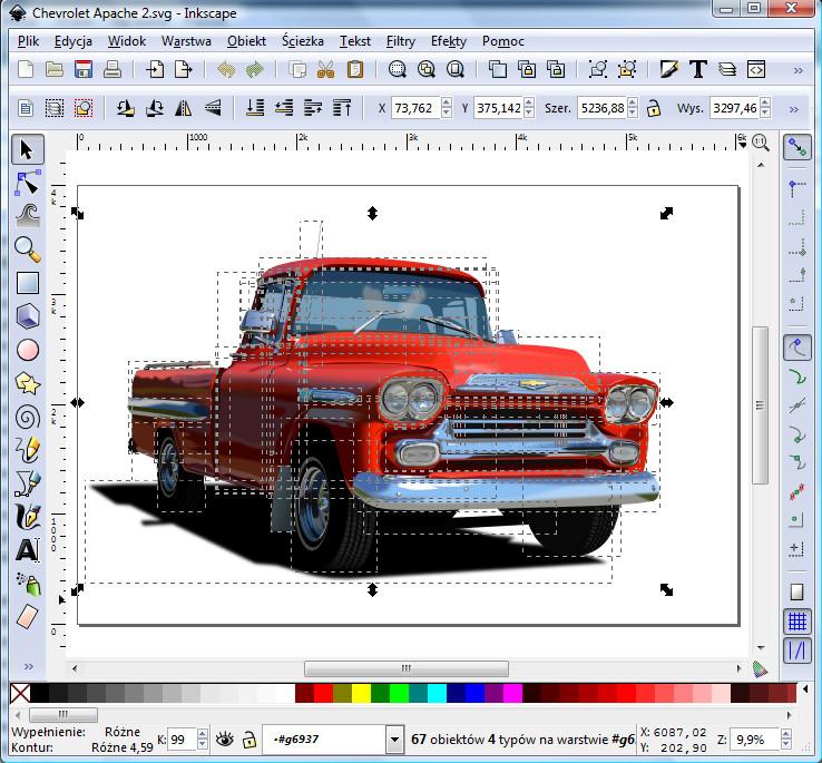 Okno programu Inkscape