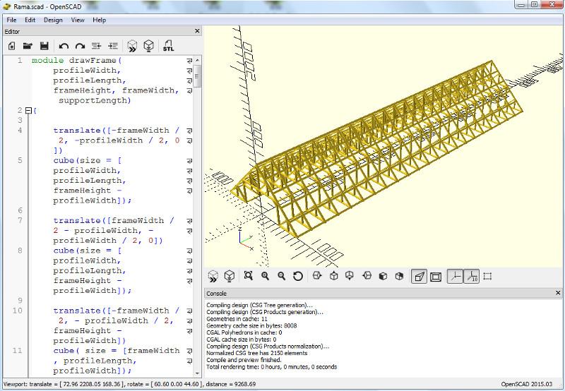 OpenScad - widok efektu działania kodu napisanego przez autora strony, który w łatwy sposób umożliwia stworzenie więźby dachowej