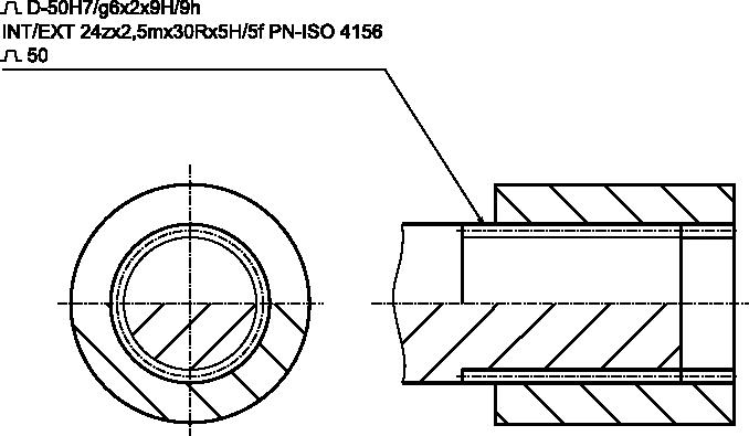 Przykładowy rysunek z oznaczeniem połączenia wielowypustowego o zarysie ewolwenty.