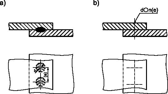 Przykłady rysunku połączenia zgrzewanego punktowego.