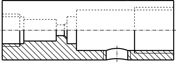 Przykład półprzekroju półwidoku (tego typu przekroi się nie oznacza).