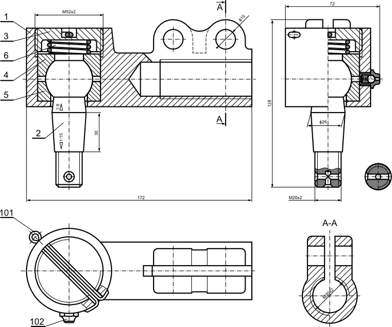 Przykład rysunku złożeniowego z zastosowaniem zawleczki jako sposobu przed samoodkręcaniem połączenia gwintowanego.
