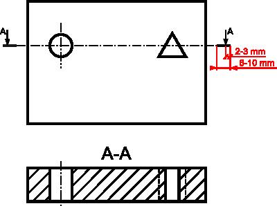 Przykład oznaczenia przekroju prostego wraz z zaznaczonym na czerwono dopuszczalnymi wymiarami linii kończącej  przekrój i położenia strzałki określającej kierunek patrzenia.
