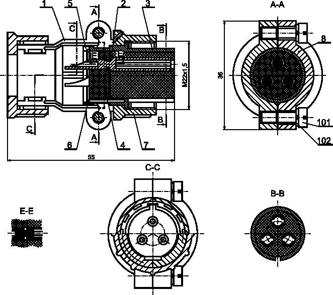 Przykład rysunku złożeniowego z kilkorgiem typów przekroi.
