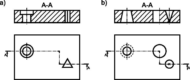 Przykłady przekrojów złożonych, gdzie kąt załamania przekroju jest równy <b>90°</b>: <b>a)</b> przekrój przechodzący prostą przez otwory; <b>b)</b> przekrój przechodzący pod kątem prostym przez jeden z otworów.