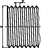 Linie zarysu gwintu trójkątnego.