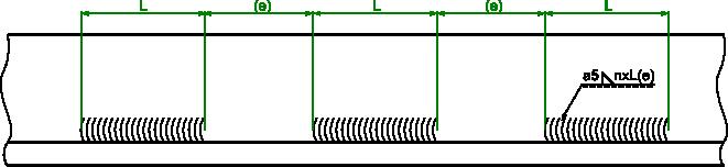 Przykład wymiarowania spoiny pachwinowej jednostronnej przerywanej.