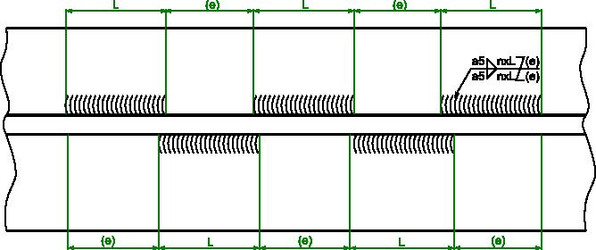 Przykład wymiarowania spoiny pachwinowej przerywanej przestawnej.