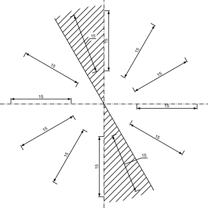 Rozmieszczenie tekstu wymiarowego nad linią wymiarową dla wymiarów liniowych