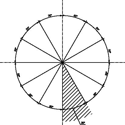 Sposób rozmieszczania wymiarów kątowych nad linią wymiarową.
