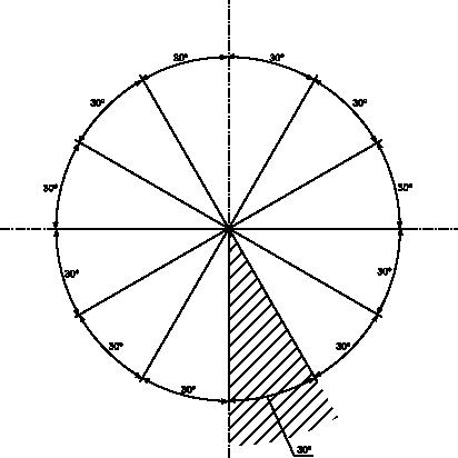Rozmieszczenie poziome nad i pod linią wymiarową tekstu wymiarowego wielkości kątowej.