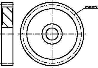 Uproszczony rysunek koła zębatego.