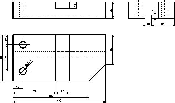 Przykład rysunku technicznego wymagającego użycia trzech rzutów prostokątnych.