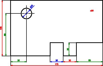 Ilustracja pokazująca różne typy wymiarów wyróżnionych kolorem: czerwonym - wymiary zewnętrzne; zielonym - wymiary mieszane i pośrednie; niebieskim - wymiary wewnętrzne.