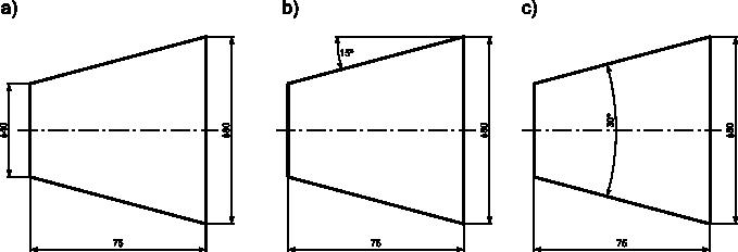 Trzy sposoby wymiarowania powierzchni stożkowych: <b>a)</b> za pomocą średnic i długości stożka; <b>b)</b> za pomocą średnicy, długości i kąta mierzonego względem linii równoległej do osi symetrii stożka; <b>c)</b> za pomocą średnicy, długości i kąta zawartego pomiędzy krawędziami płaszczyzny bocznej stożka.