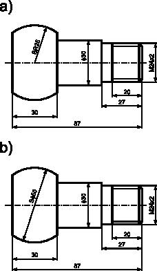 Wymiarowanie z zastosowaniem symbolu kulistości: <b>a)</b> z użyciem symbolu promienia <b>R</b>; <b>b)</b> z wykorzystaniem symbolu średnicy <b>ϕ</b>.