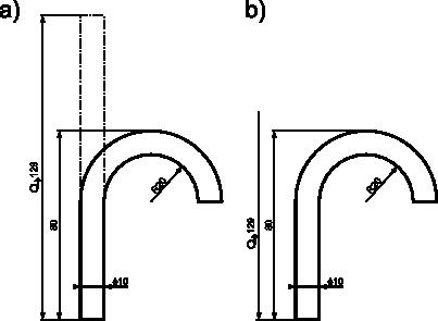 Zastosowanie symbolu rozwinięcia: <b>a)</b> z zarysem rozwinięcia obiektu; <b>b)</b> bez zarysu rozwinięcia obiektu.