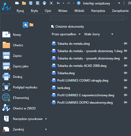 ZwCad - menu rozwijane w trybie wstążkowym