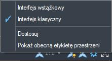 ZwCad menu wyboru widoku klasycznego i wstążkowego