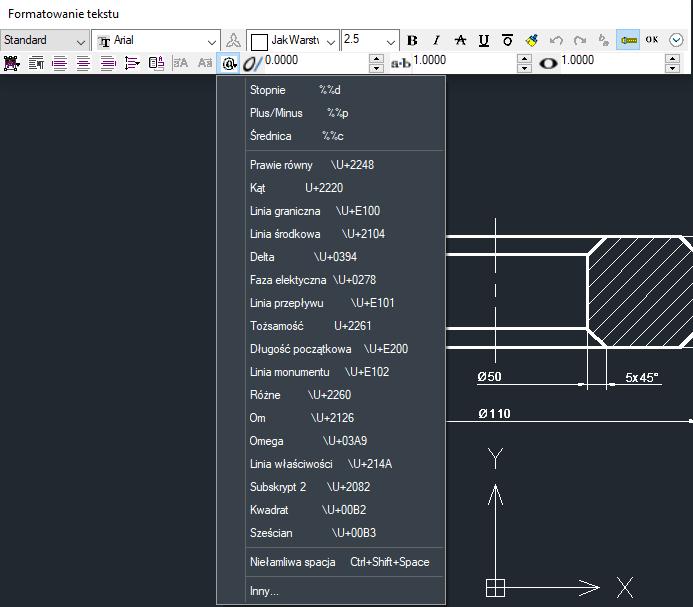 ZwCad - edycja wymiaru i menu wstawiania symbolu