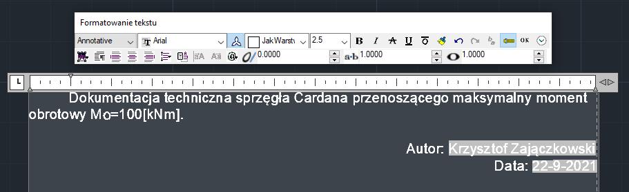 ZwCad - wstawianie tekstu wieloliniowego