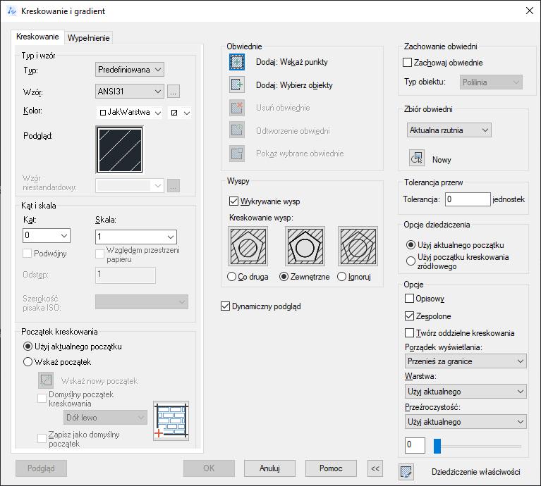 ZwCad - okno Kreskowanie i gradient zakładka Kreskowanie