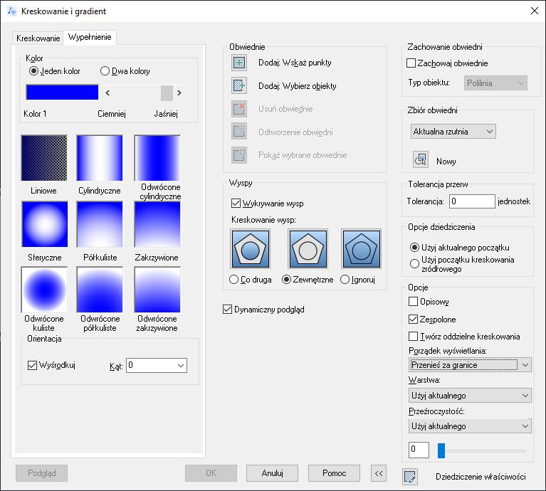 ZwCad - okno Kreskowanie i gradient zakładka Wypełnienie