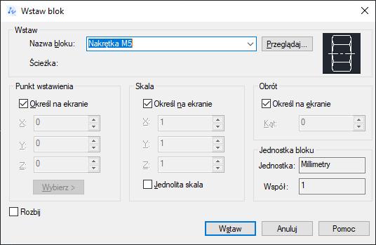 ZwCad - okno dialogowe Wstaw blok