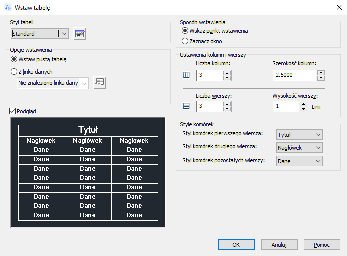 ZwCad - okno dialogowe Wstaw tabelkę