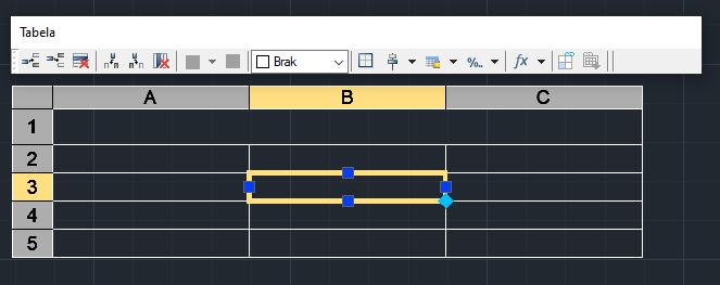 ZwCad pasek Tabela umożliwiający formatowanie tabelki i zaznaczonej komórki