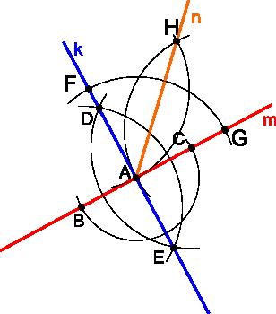 Konstrukcja kreślenia kąta 45°