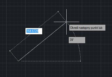 Wprowadzenie danych w obszarze rysowania w trybie rysowania linii